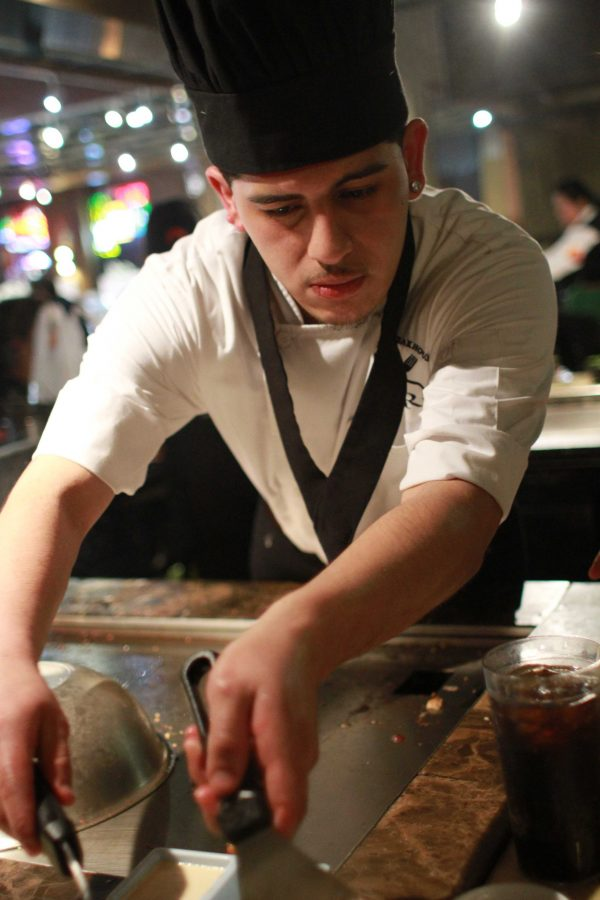 """Chef Juan of Ju Rin prepares savory Japanese Teppanyaki style dishes on a Hibachi grill. """"I'm a little nervous about this food review,"""" said Chef Juan."""