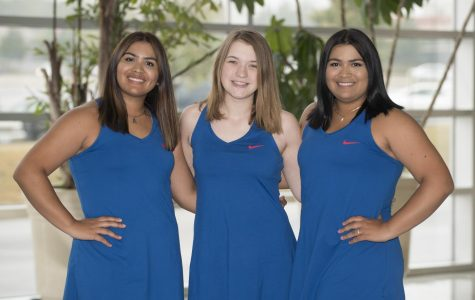 Pictured here are the three ladies that make up the Tennis team. Alejandra Abella, Marie Beyer, and Carolina Abella.
