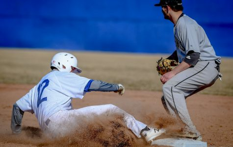 Action during ECC men's baseball victory over Sauk Valley CC, with a score of 6-2.
