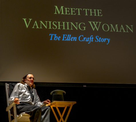 "Performance of the one woman show ""Meet the Vanishing Woman"" ""The Ellen Craft Story."" The 11am Wednesday March 4 performance was held in the Spartan Auditorium and was open to all students."