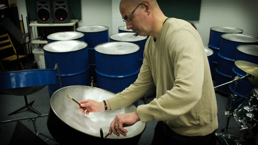 ECC instructor Steve Butters in his natural element - playing the steel drums