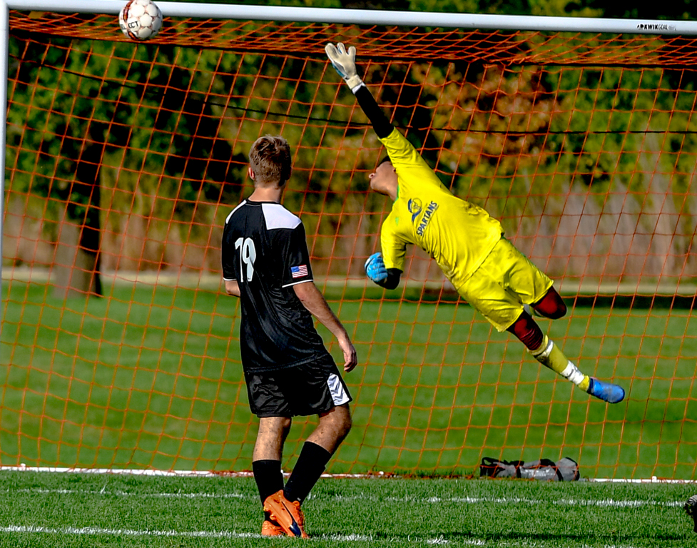 Plenty of action in the ECC mens soccer  hard fought 4 to 3 loss to Waubonsee College.