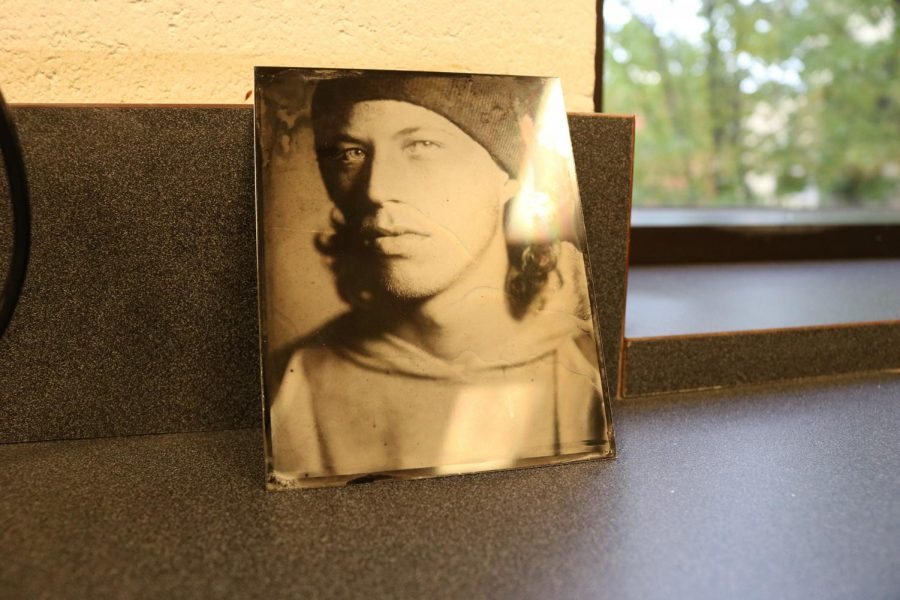 Tintype print of digital photography student Logan Lau,