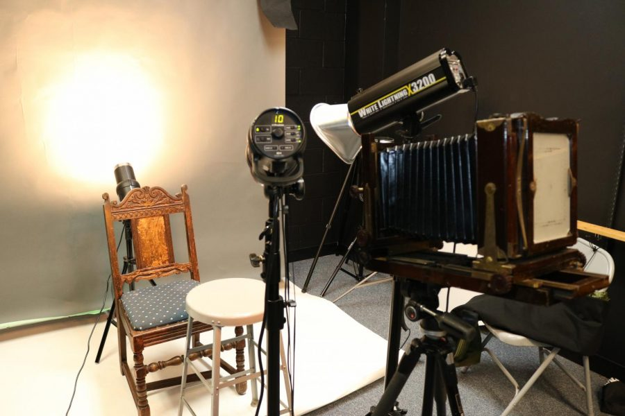 Camera used for tintype printing sits in the lighting room in the second floor of building H