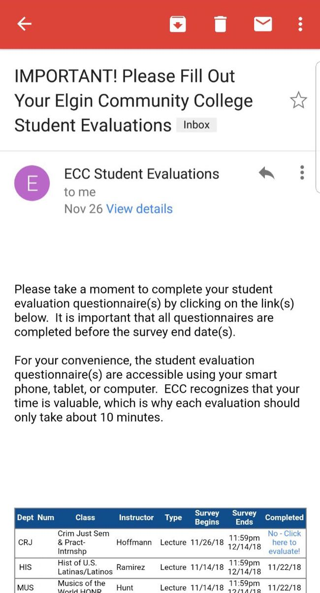ECC sends out thousands of individual reminders to students to fill out their class surveys.