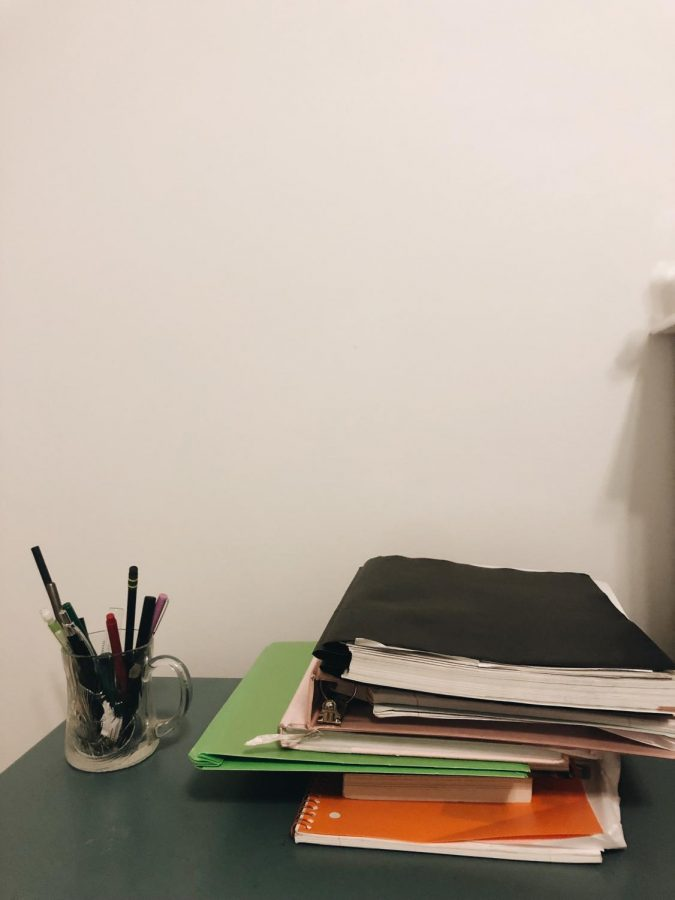 Many+students+suggested+staying+organized+with+folders+and+notebooks+to+help+avoid+stress+during+the+semester.