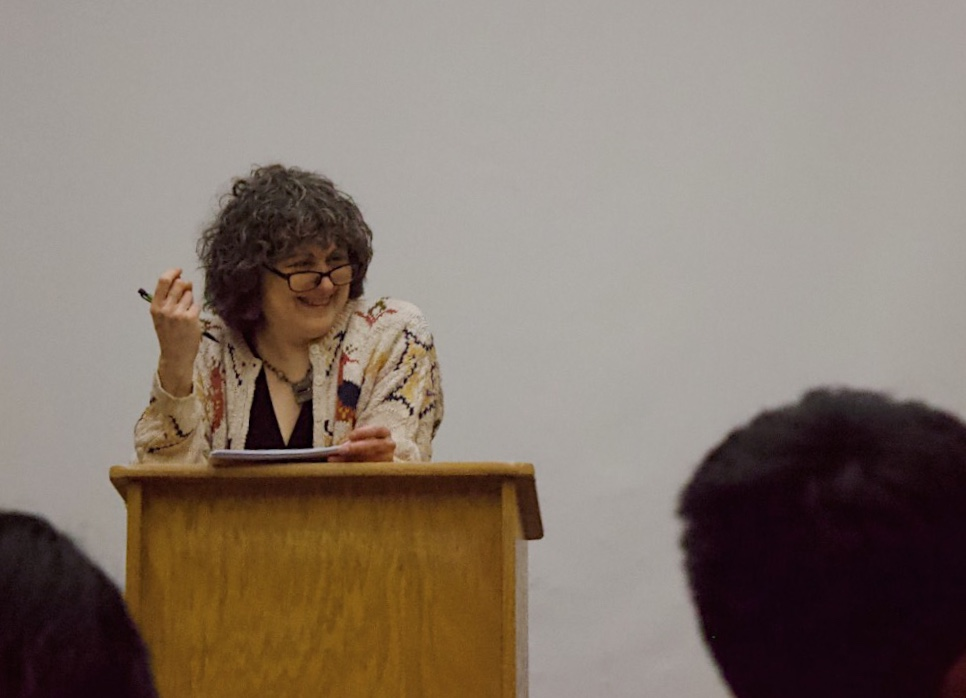 Sandi Wisenberg engaging with her audience at the Reading Series event on Feb. 21