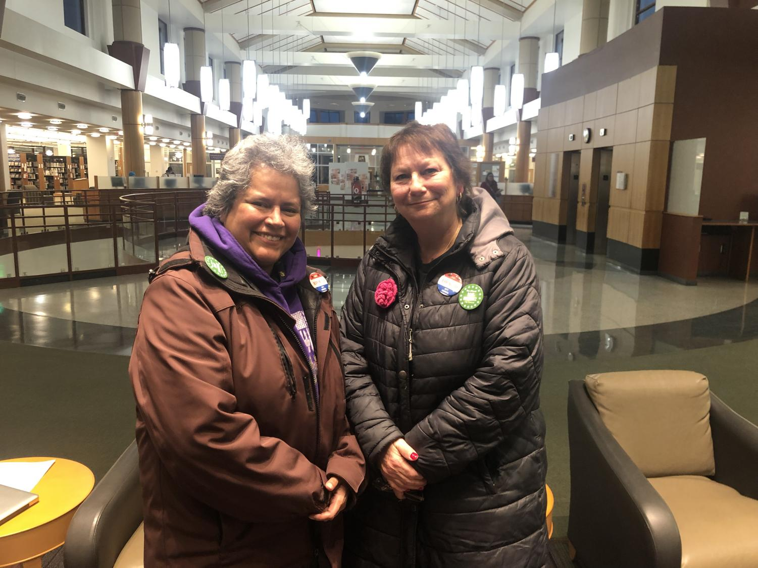 Councilwoman Rose Martinez, left, and council board candidate Jerri McCue, right, conveyed the reasons behind their candidacies for Elgin city council.