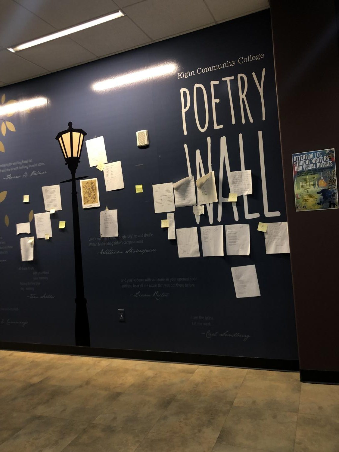 Coffee House was held in the B270 lounge, right next to the poetry wall.