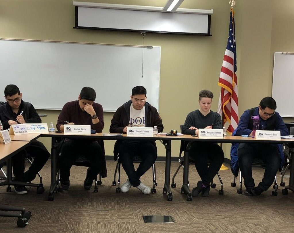 Ismael Cordova publicly resigns from his position as student government president at the meeting held on March 6, 2019.