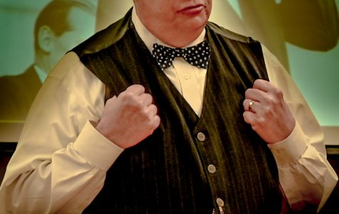 Randy Otto portrays Winston Churchill at the Socrates Cafe a week before his April 28 before his performance at the Blizzard Theater.