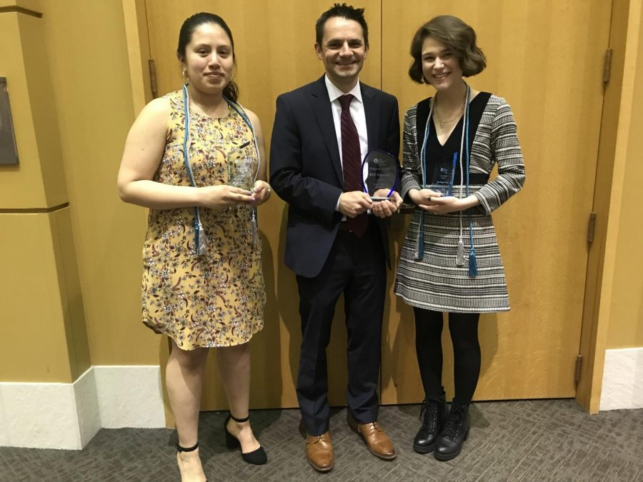 (left) Luz Silva, editor-in-chief, earned a Distinguished President Award; (right) Shealeigh Voitl, managing editor, was awarded a Leadership Award.