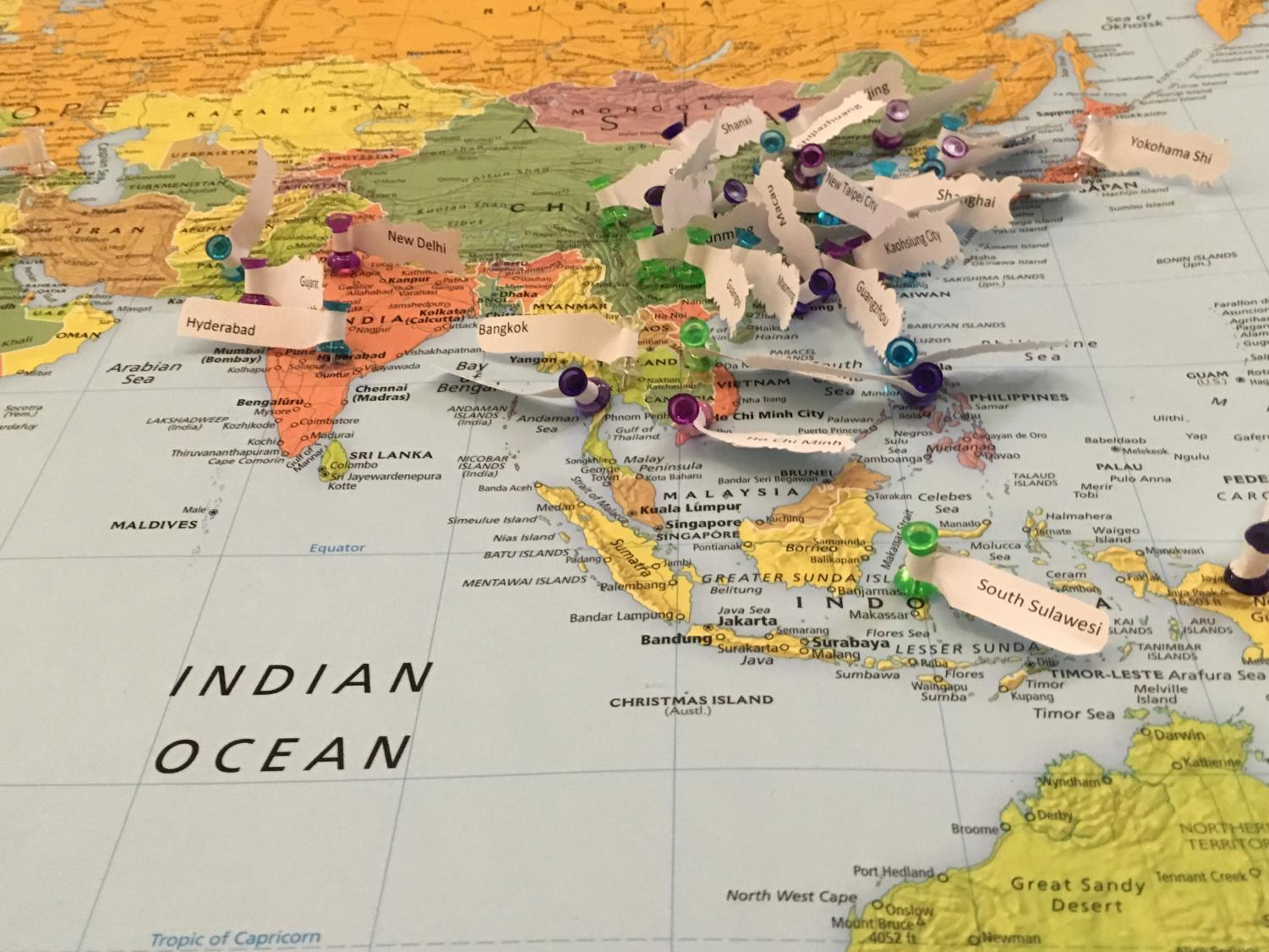 A map depicting the cities in which the international students at ECC come from. Located near the cafeteria in Building B.