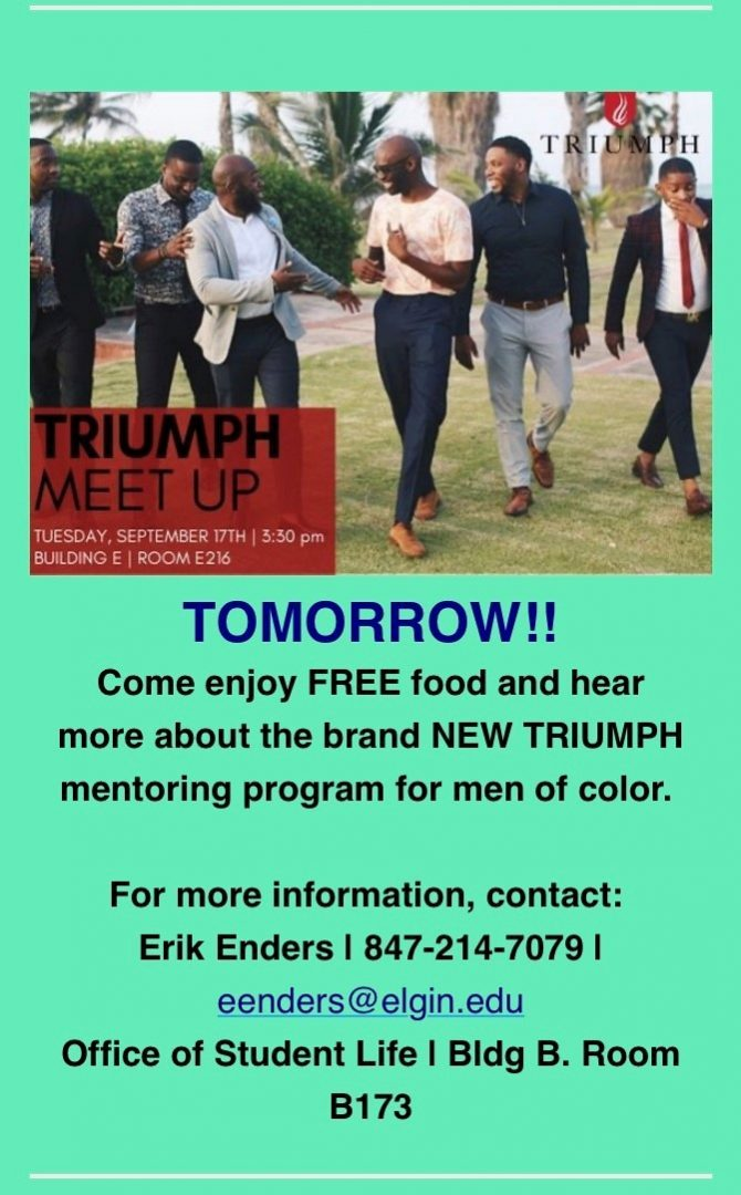 Triumph flyer sent out to students through emails
