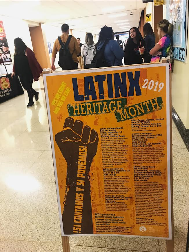 Latinx Month Promoted events on signs in ECC hallway.