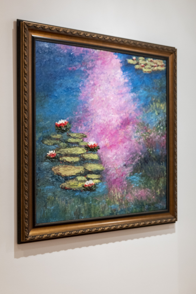 Sunset Lilies, an oil painting created by Wes Courrier.