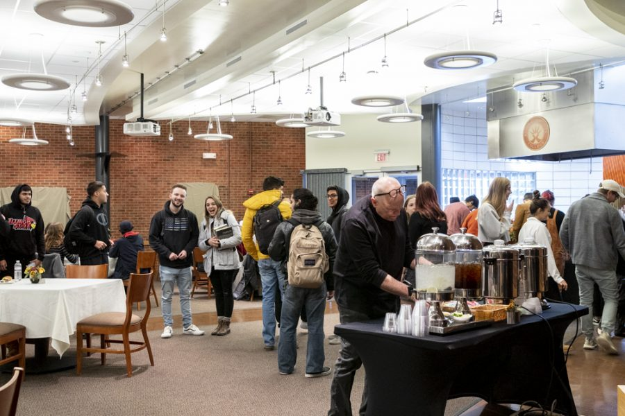 Students and staff gather for the Big Print Show reception in the Spartan Terrance Restaurant on Nov. 13.