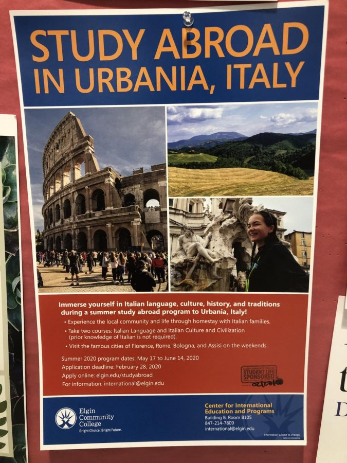 Poster for the Italy study abroad program are posted around the school.