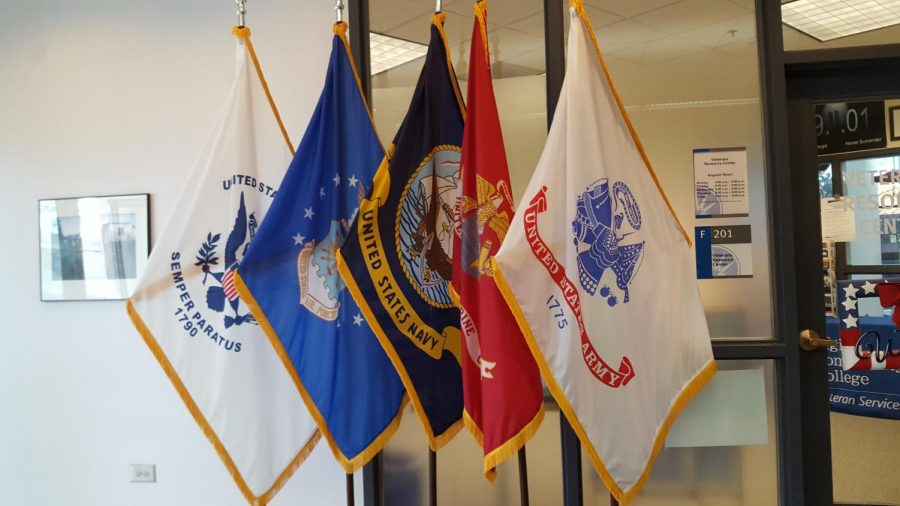 The five flags are all hung up outside the Veterans Office.