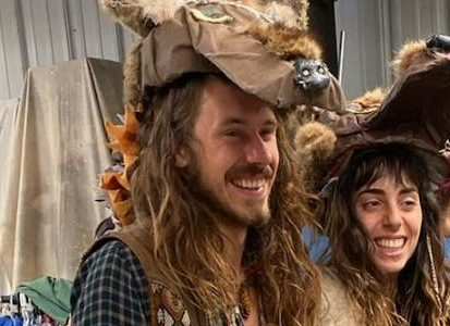 Alix Tate and friend getting their hands on handmade wolf costumes from a small performing arts theater in Chicago,  November 10 2019.