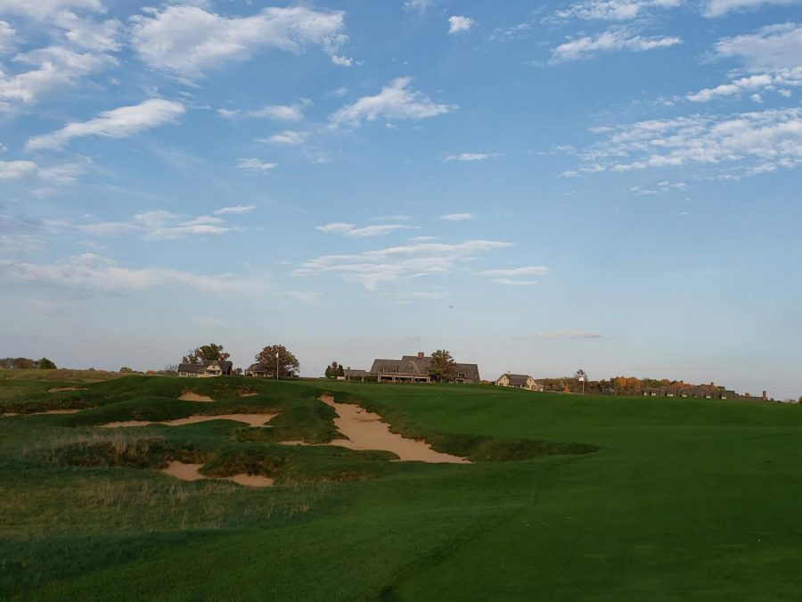 A view from 18 fairway at Erin Hills