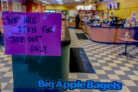 Local Big Apple Bagels complies with the Illinois Governors mandate to close all restaurants except for take out.