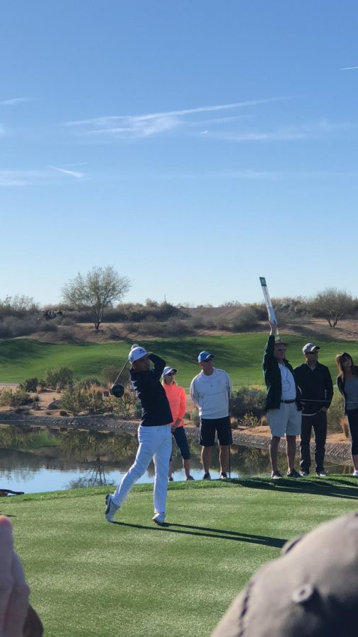 Rickie Fowler hits a drive down 12 fairway at TPC Scottsdale durning the 2018 Waste Management Phoenix Open Pro-am