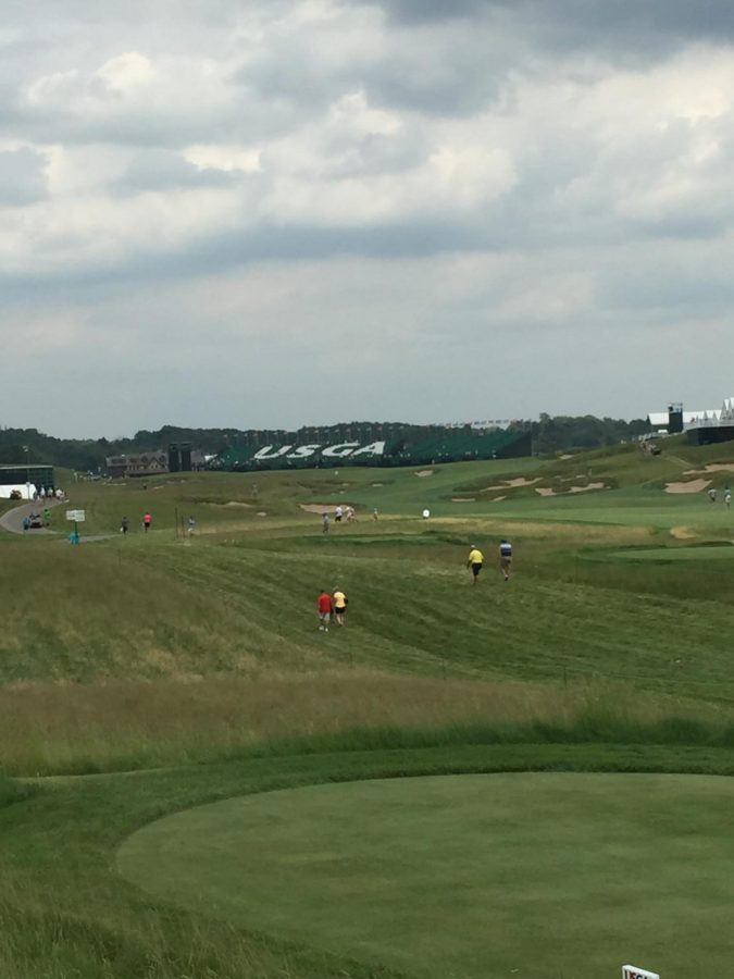a view from the par 5 18th hole at Erin Hills. The par 5 spanned 677 yards from the tees