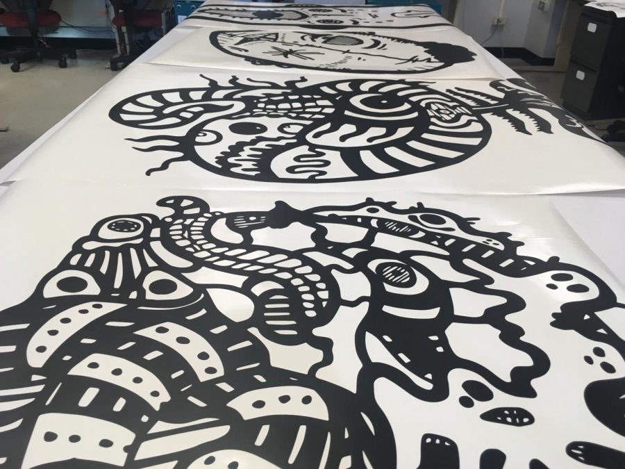 Vinyl stickers created by artist Josh Selvig to transfer his prints from paper to the wall.