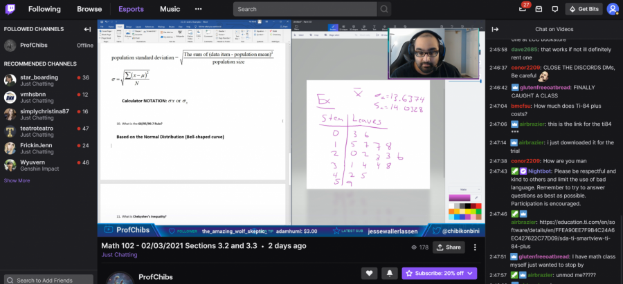 Professor Malik teaches his statistics class using Twitch, an online streaming platform most commonly used by video gamers.
