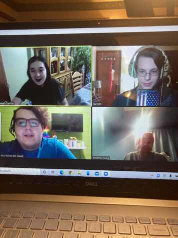 """Cast members of """"These Shining Lives"""" hanging out over Zoom after a virtual rehearsal."""