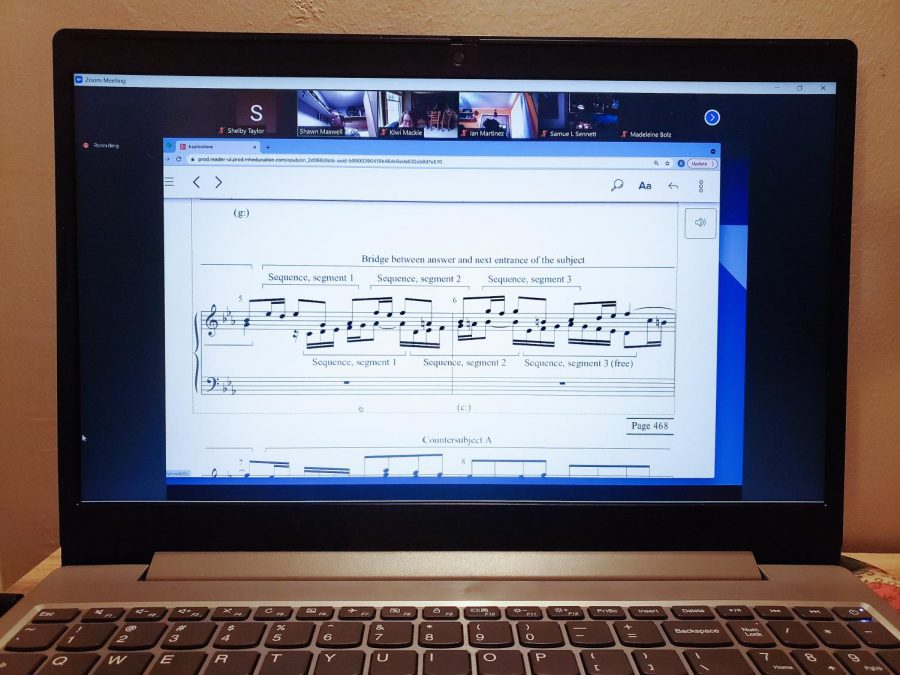 Most classes have remained online as the fall 2021 semester begins. Associate Professor of Music Shawn Maxwells music theory courses continue to be taught entirely over Zoom.